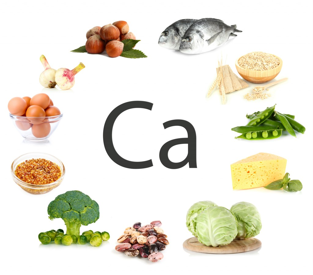 Collage of products containing calcium
