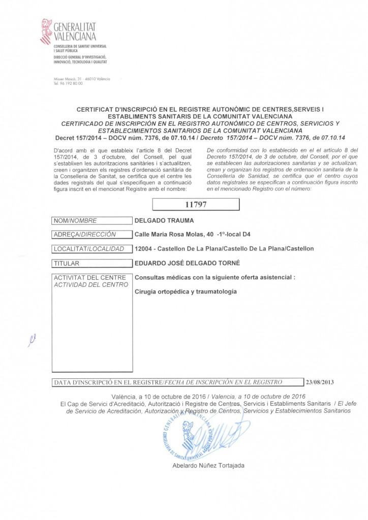 Certificado Registro Autonómico Sanitario DELGADOTRAUMA 10-2016