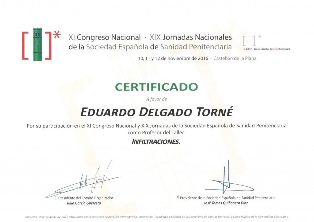 Diploma-Profesor-Infiltraciones-Congreso-Penintenciaria-12-11-2016-Castellón