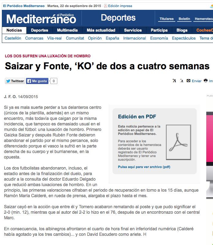 Suiza y Fonte KO. Periódico Mediterráneo 14-09-15
