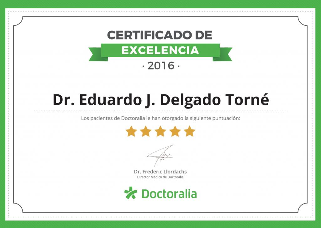 Certificado Excelencia 2016 Doctoralia DELGADOTRAUMA